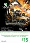 XBOX360 LIVE CARD 15 EURO WORLD OF TANKS